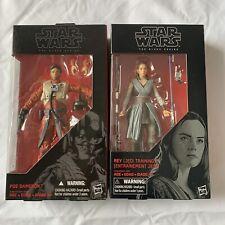 New Star Wars Black Series 6 Inch Rey Jedi Training #44. And Poe Dameron #7 Lot