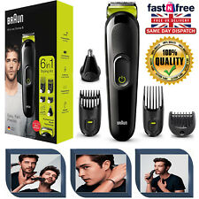 6 in 1 Cordless Beard Trimmer Braun Nose Hair Body Grooming Clipper Shaver Kit