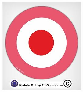 100mm-4'' Mod target Pink Laminated Decal Sticker vespa classic scooter laptop