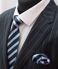 Tie Neck tie with Handkerchief Light Blue with Dark Blue Stripe