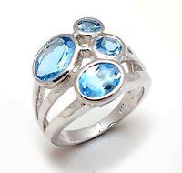 14k Solid White Gold Natural Gem Stone Blue Topaz Men's Ring Us Size 7 8 9 10 11