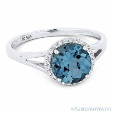1.72 ct London-Blue Topaz & Diamond Halo 14k White Gold Promise Engagement Ring