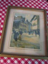 Vintage Framed 1920 1930 1940 Print Holland Dutch European Village Scene