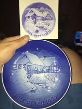 Bing & Grondahl 1975 Christmas Plate Jule After Denmark Blue White Wall Decor