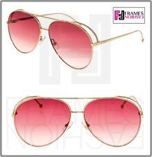 dd98f42b0dd7 FENDI RUN AWAY FF0286S Rose Gold Pink Aviator Metal Mirrored Sunglasses 0286
