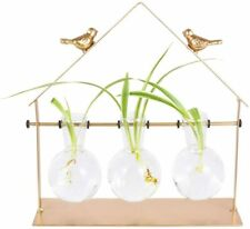 Blown Glass Bulb Plants Vase With Golden Bird Metal Stand For Indoor Decoration