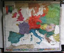 Schulwandkarte Belle Vieux Völkerkunde Carte de L'Europe 216x188 Vintage avant