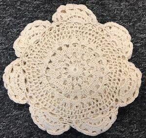 """12 Pcs 6"""" Round Cotton Handmade Fine Crochet Lace Placemat Doily Doilies - Beige"""