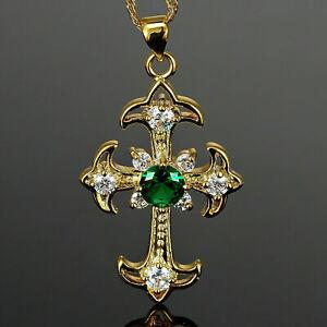 1.50 Ct Round Green Emerald Diamond Cross Pendant Necklace 14K Yellow Gold Over