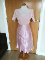 Ladies LUCY WANG Dress Size 12 Pink Satin Lace Party Wedding Races