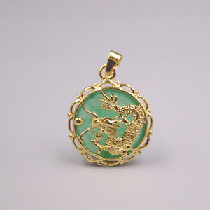 GP 18K Gold Plated Heating Jade Luck Round Dragon Pendant 25x19mm For Woman