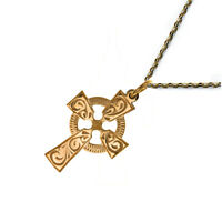 NEW 9ct Yellow Gold Celtic Cross and Solid Gold Chain 26x15mm Quality UK 375 HM