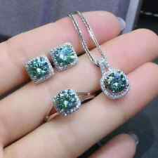 Blue Round Moissanite Earrings Pendant Ring Jewelry Set In 14K White Gold Finish