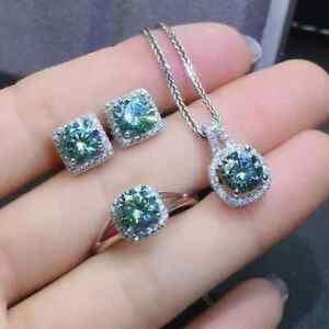 Blue Round Moissanite Earrings Pendant Ring Jewelry Set In 14K White Gold Finish