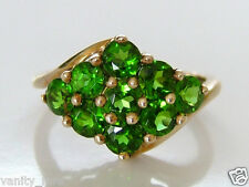 Beautiful 9ct Gold Russian Diopside Cluster Ring Size N