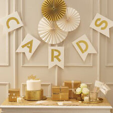 Ivory oro glitter Carte Bunting casella postale per Festa Matrimonio Decorazione