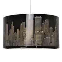 Large Round 40cm Black Metal New York Skyline Ceiling Light Lamp Shade Lampshade