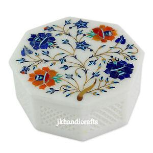 "4"" Marble Jewelry Box Pietra Dura Marquetry Floral Inlay Filigree Hallway Decor"