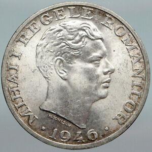1946 ROMANIA King Michael I Shield Genuine Silver 25000 Lei Romanian Coin i88029