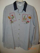 Victoria Jones Size 24W Trendy White with Stripes Button Down Blouse Embroidered