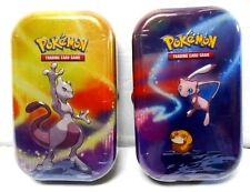 Factory Sealed Lot of 2 Pokemon TCG Mew & Mewtwo Kanto Power Mini Tins w/ Cards