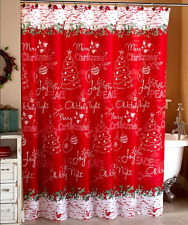 Merry Christmas Shower Curtain Joy Peace Oh Holy Night Snowflakes Holly Design