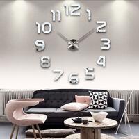 Horloge Murale Quartz 3D DIY Acrylique Autocollant Décoration Intérieure Salon