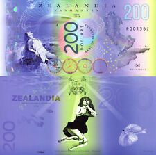 ZEALANDIA 200 Dollars Fun-Fantasy Note 2018 Private Issue Polymer Banknote Bill