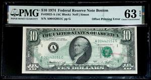 $10 FEDERAL RESERVE NOTE DARK OFFSET PRINTING/ REJECTION MARK ERROR-PMG #63 UNC