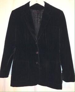 1970s Three Piece Dark Blue Velvet Suit Medium