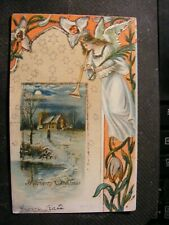 Art Nouveau A  Merry Christmas Embossed POSTED 1906