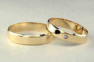 Paar 2 Trauringe Eheringe Massiv Gelbgold 585 5 mm & 100% Diamant ! KANTEN 7 g !
