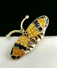 (W) Butterfly Insect Bug Yellow Black Rhinestone Enamel Brooch Pin Gold Tone