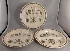Set of 3 Pfaltzgraff Naturewood Melamine/Plastic Divided 3 Section Plates