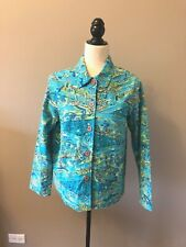 BRECKENRIDGE TEAL-GREEN-BLUE EMBELLISHED BUTTON FRONT TOP/JACKET - SZ SMALL S