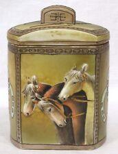 Vintage HP NIPPON Humidor Raised Three Horse Heads Equestrian Motif