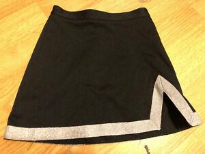 """VARSITY Black & Silver Cheerleader UNIFORM SKIRT GIRLS 26"""""""