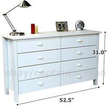 Bedroom Storage Dresser Chest 8 Drawer Modern Wood Furniture White