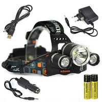Rechargeable 9800 Lumen 3*XM-L T6 LED Headlamp Headlight Torch 18650 Charger Kit