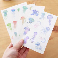 4pcs/lot Cute Jellyfish Art Flakes Transparent Diary DIY Sticker Scrapbooking