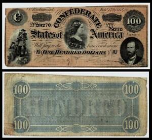 1864 $100 CONFEDERATE CIVIL WAR CURRENCY ~