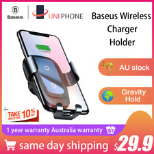 Baseus Fast Qi Wireless Charger Car Mount Holder iPhone X XR XS Max S9 s10 plus