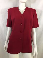 EASTEX RED FULLY LINED COLLARLESS BLAZER JACKET SIZE 14