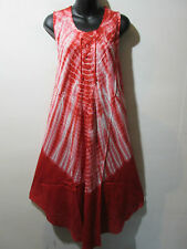 Dress Fits 1X 2X 3X Plus Sundress Red Tie Dye Bell Shaped Lace Up Chest NWT G510