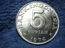 INDONESIA: 1974  SCARCE LARGE 5 RUPIAH ABOUT UNCIRCULATED TO UNCIRCULATED!!