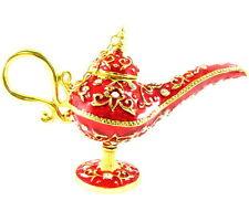 Vintage type RED Aladdin Genies oil lamp Pot Deco tin Golden Rhinestone Crystal