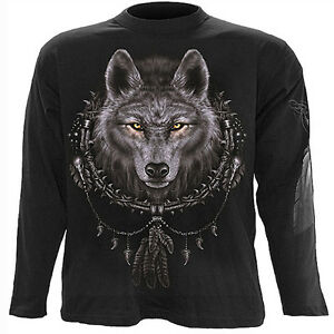 Spiral Direct WOLF DREAMS Long Sleeve T-shirt/Biker/Tattoo/Dream Catcher/Native
