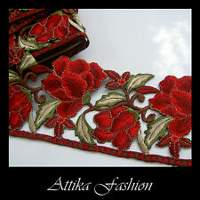 EMBROIDERED LACE TRIM - Red Maroon Flower Motif Applique 0.5y - VERY WIDE 11cm
