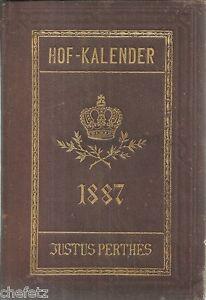 Gothaischer Genealogischer Hof-Kalender 1887. 4 Stahlstichporträts!