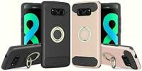 Shockproof Ring Stand Case For Samsung Galaxy S7 S8 Edge Plus with Glass Screen